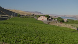 DX0001_000483 - 5.7K stock footage aerial video approach and fly over Maryhill Winery main building in Goldendale, Washington