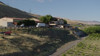 DX0001_000485 - 5.7K stock footage aerial video flyby Maryhill Winery main building in Goldendale, Washington
