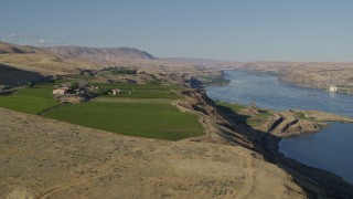DX0001_000493 - 5.7K stock footage aerial video of the Maryhill Winery overlooking the Columbia River in Goldendale, Washington