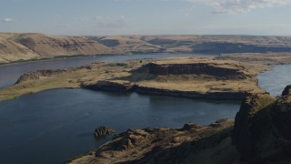 DX0001_000497 - 5.7K stock footage aerial video pan across Miller Island and the Columbia River in Goldendale, Washington