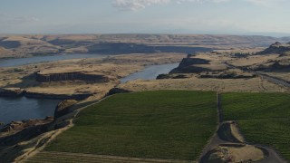 DX0001_000508 - 5.7K stock footage aerial video of Miller Island the the Columbia River seen from Maryhill Winery in Goldendale, Washington