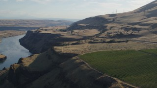 DX0001_000509 - 5.7K stock footage aerial video of Lewis and Clark Highway seen from Maryhill Winery in Goldendale, Washington