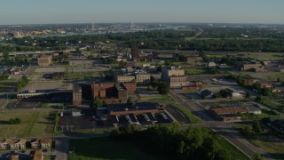 DX0001_000556 - 5.7K stock footage aerial video of government buildings and hospital at sunrise, East St Louis, Illinois