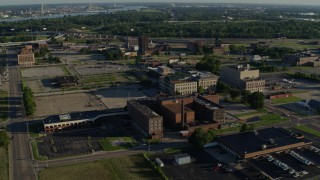 DX0001_000557 - 5.7K stock footage aerial video of government buildings at sunrise, East St Louis, Illinois