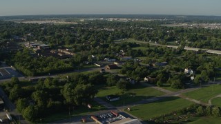 DX0001_000560 - 5.7K stock footage aerial video of a small residential area, sunrise, East St Louis, Illinois