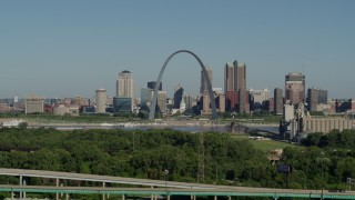 DX0001_000569 - 5.7K stock footage aerial video of ascending from freeway, park and the Arch and skyline, Downtown St. Louis, Missouri
