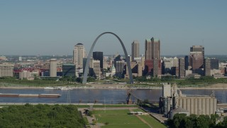 DX0001_000572 - 5.7K stock footage aerial video of grain elevator, Arch and skyline, Downtown St. Louis, Missouri