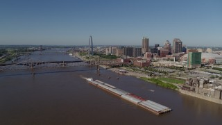 DX0001_000578 - 5.7K stock footage aerial video of barges in the Mississippi River near Downtown St. Louis, Missouri