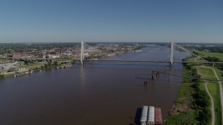 DX0001_000587 - Aerial stock footage of 6K drone aerial of a cable-stayed bridge spanning a river, St. Louis, Missouri