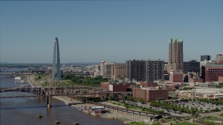 DX0001_000593 - 5.7K stock footage aerial video of the Gateway Arch and skyscrapers in Downtown St. Louis, Missouri