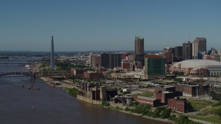 DX0001_000613 - 5.7K stock footage aerial video of the Gateway Arch and Downtown St. Louis, Missouri