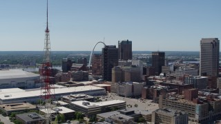 DX0001_000630 - 5.7K stock footage aerial video a view of Downtown St. Louis, Missouri, revealing a radio tower