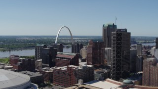 DX0001_000634 - 5.7K stock footage aerial video One US Bank Plaza and Gateway Arch in Downtown St. Louis, Missouri