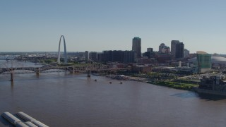 DX0001_000643 - 5.7K stock footage aerial video of the Gateway Arch and skyscrapers seen from across the river, Downtown St. Louis, Missouri
