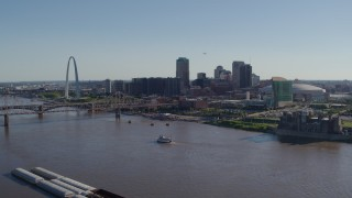 DX0001_000646 - 5.7K stock footage aerial video flying away from the Arch, Downtown St. Louis, Missouri, and the Mississippi River