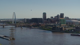 DX0001_000660 - 5.7K stock footage aerial video of the Gateway Arch and Downtown St. Louis, Missouri skyline across the river