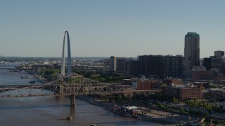 DX0001_000664 - 5.7K stock footage aerial video of a view of the Martin Luther King Bridge and Gateway Arch in Downtown St. Louis, Missouri