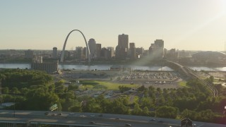 DX0001_000680 - 5.7K stock footage aerial video of the Gateway Arch and Downtown St. Louis at sunset, seen from East St. Louis, Illinois