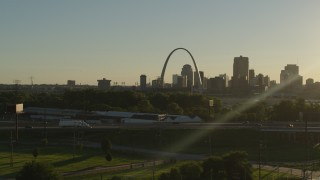 DX0001_000696 - 5.7K stock footage aerial video of the Gateway Arch and Downtown St. Louis, Missouri skyline at sunset