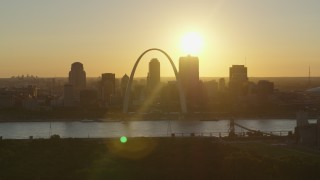 DX0001_000709 - 5.7K stock footage aerial video a sunset view of Downtown St. Louis, Missouri