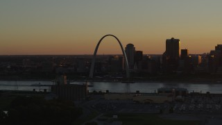 DX0001_000713 - 5.7K stock footage aerial video of the Gateway Arch at sunset, Downtown St. Louis, Missouri
