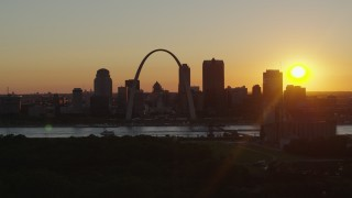 DX0001_000716 - 5.7K stock footage aerial video flyby the Gateway Arch and skyline of Downtown St. Louis, Missouri at sunset