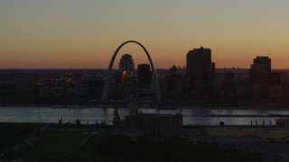 DX0001_000721 - 5.7K stock footage aerial video of the Gateway Arch in Downtown St. Louis, Missouri at sunset