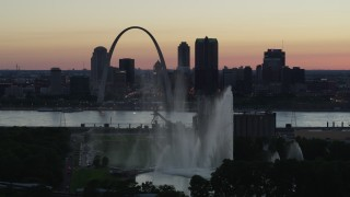 DX0001_000749 - 5.7K stock footage aerial video of the Gateway Geyser and Arch, Downtown St. Louis, Missouri, twilight