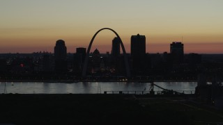 DX0001_000765 - 5.7K stock footage aerial video of a view across the river at Downtown St. Louis, Missouri, twilight