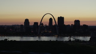 DX0001_000769 - 5.7K stock footage aerial video slow pass of the Downtown St. Louis, Missouri skyline at twilight