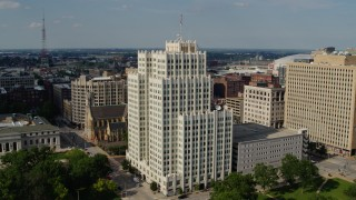 DX0001_000788 - 5.7K stock footage aerial video reverse view of the Park Pacific high-rise in Downtown St. Louis, Missouri
