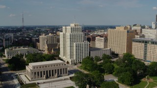 DX0001_000789 - 5.7K stock footage aerial video of approaching the Park Pacific high-rise in Downtown St. Louis, Missouri