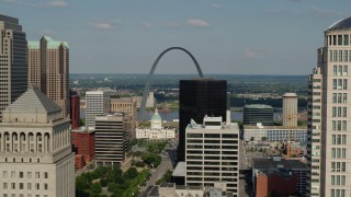 DX0001_000795 - 5.7K stock footage aerial video flyby buildings to reveal the Museum at the Gateway Arch in Downtown St. Louis, Missouri