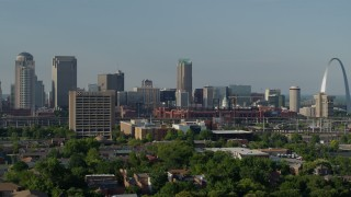 DX0001_000811 - 5.7K stock footage aerial video a view of office building, stadium and Gateway Arch in Downtown St. Louis, Missouri