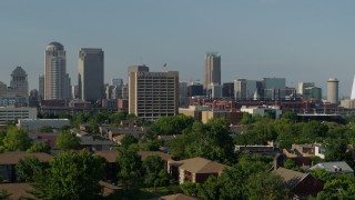 DX0001_000812 - 5.7K stock footage aerial video of office buildings and skyscrapers Downtown St. Louis, Missouri