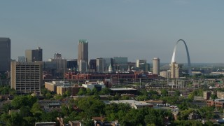 DX0001_000815 - 5.7K stock footage aerial video of an office building and stadium near the Gateway Arch in Downtown St. Louis, Missouri