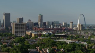 DX0001_000816 - 5.7K stock footage aerial video of the stadium and office building near the Gateway Arch in Downtown St. Louis, Missouri