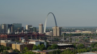 DX0001_000819 - 5.7K stock footage aerial video flyby office building with a view to the Gateway Arch in Downtown St. Louis, Missouri