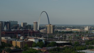 DX0001_000827 - 5.7K stock footage aerial video of the Gateway Arch across the city seen while descending in Downtown St. Louis, Missouri