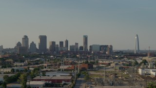 DX0001_000829 - 5.7K stock footage aerial video of the city skyline and the Gateway Arch, Downtown St. Louis, Missouri