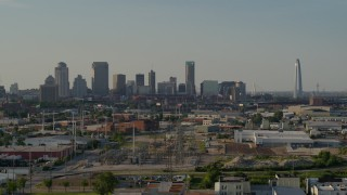 DX0001_000831 - 5.7K stock footage aerial video a wide view of the city's skyscrapers and Gateway Arch, Downtown St. Louis, Missouri