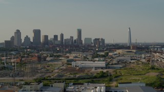 DX0001_000832 - 5.7K stock footage aerial video a stationary view of the city's skyscrapers and Gateway Arch, Downtown St. Louis, Missouri