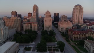 DX0001_000872 - 5.7K stock footage aerial video of the Gateway Arch and downtown courthouses at sunset, Downtown St. Louis, Missouri