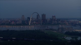 DX0001_000899 - 5.7K stock footage aerial video of the Gateway Arch and the Mississippi River at twilight, Downtown St. Louis, Missouri