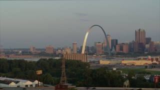 DX0001_000951 - 5.7K stock footage aerial video of morning sunlight on the St. Louis Arch in Downtown St. Louis, Missouri