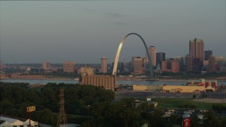 DX0001_000952 - 5.7K stock footage aerial video of morning sunlight reflecting off the St. Louis Arch in Downtown St. Louis, Missouri
