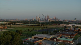 DX0001_000959 - 5.7K stock footage aerial video approach I-55 and ascend for view of the Gateway Arch in the morning, Downtown St. Louis, Missouri