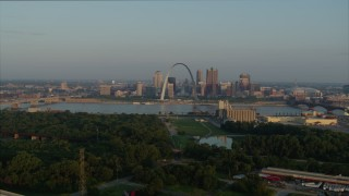 DX0001_000960 - 5.7K stock footage aerial video approach park and the Gateway Arch in the morning, Downtown St. Louis, Missouri