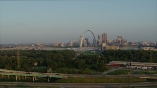 DX0001_000965 - 5.7K stock footage aerial video a view of the Gateway Arch from East St. Louis in the morning, Downtown St. Louis, Missouri