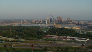 DX0001_000967 - 5.7K stock footage aerial video of the Gateway Arch seen from I-55 in East St. Louis in the morning, Downtown St. Louis, Missouri